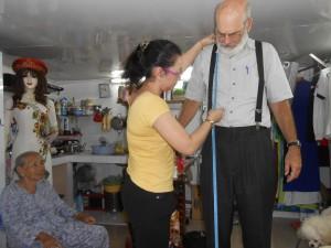 Joe being measured