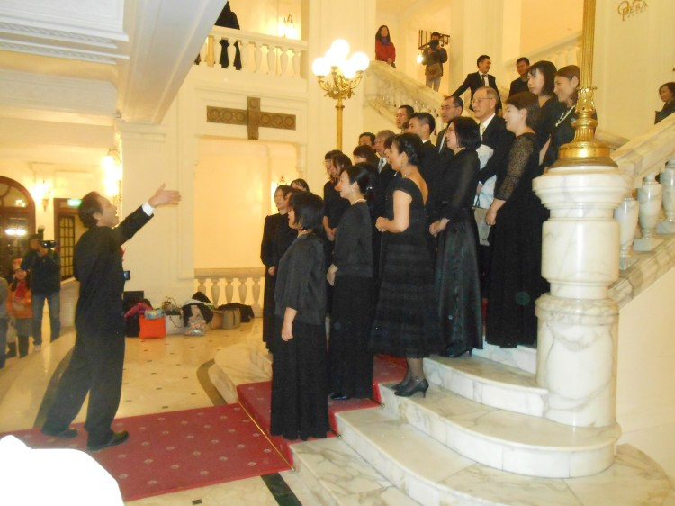 Christmas carols in the lobby