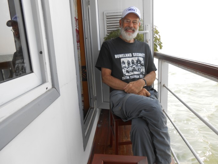 Joe on balcony boat
