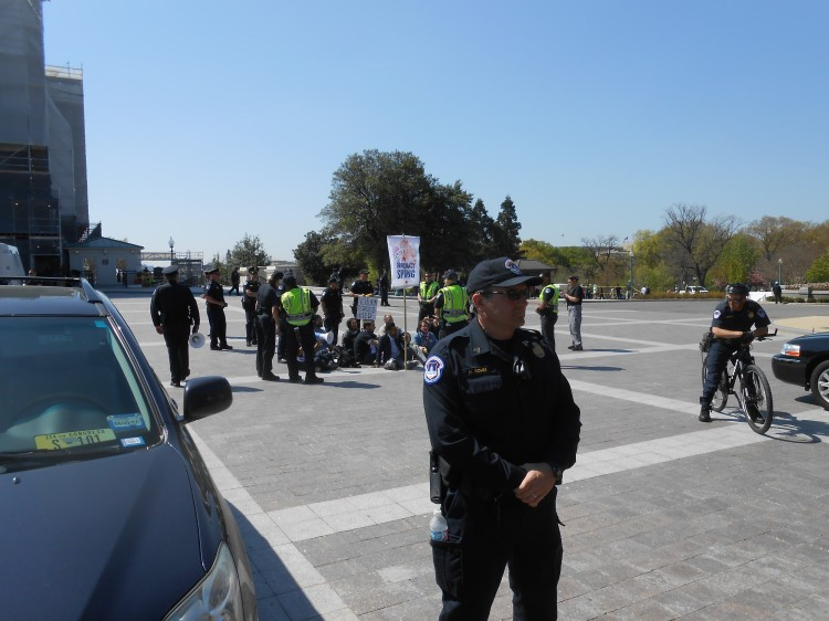 Protesters in circle